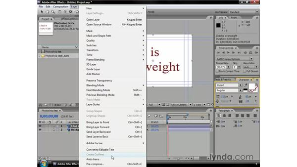 Convert Photoshop text to editable text: After Effects CS3 Professional Essential Training