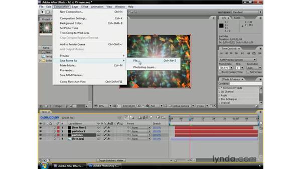 Exporting frames as layered Photoshop files: After Effects CS3 Professional Essential Training