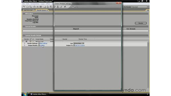 Rendering to multiple formats at once: After Effects CS3 Professional Essential Training