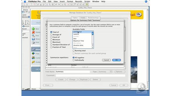 Using summary fields: FileMaker Pro 9 Essential Training