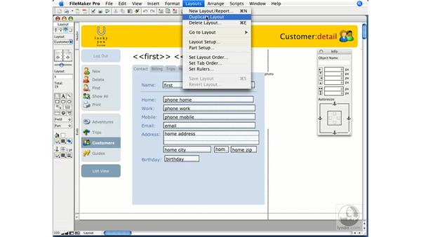 Creating layouts: FileMaker Pro 9 Essential Training