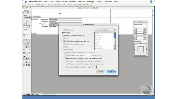 Layout parts overview: FileMaker Pro 9 Essential Training