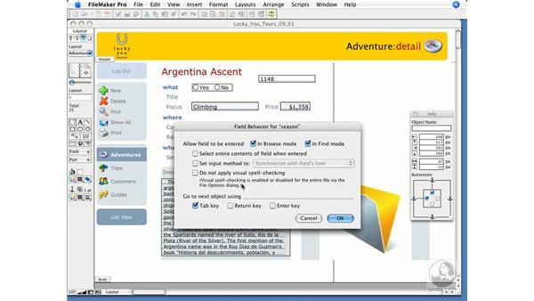Field behaviors: FileMaker Pro 9 Essential Training