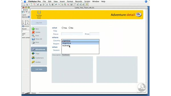 Using Auto-Complete: FileMaker Pro 9 Essential Training