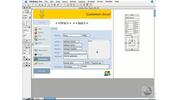 Resizing layout objects: FileMaker Pro 9 Essential Training