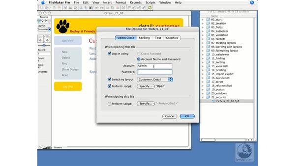 File options: FileMaker Pro 9 Essential Training