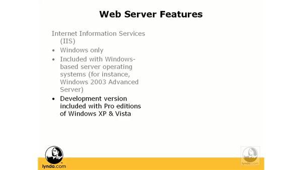 Choosing a web server: Dreamweaver CS3 Dynamic Development