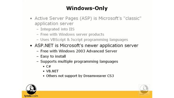 Choosing an application server: Dreamweaver CS3 Dynamic Development