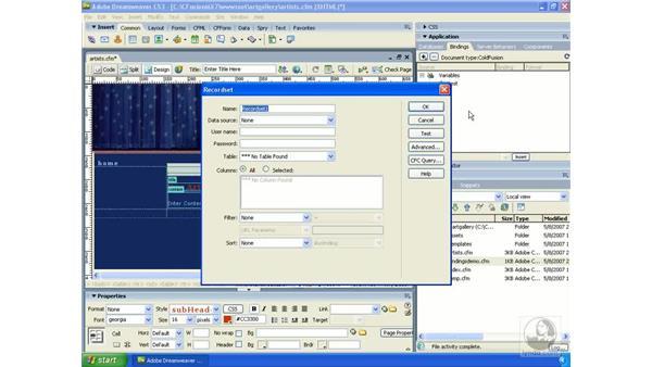 Building a simple RecordSet: Dreamweaver CS3 Dynamic Development