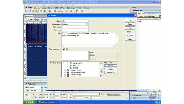 Building an advanced RecordSet: Dreamweaver CS3 Dynamic Development