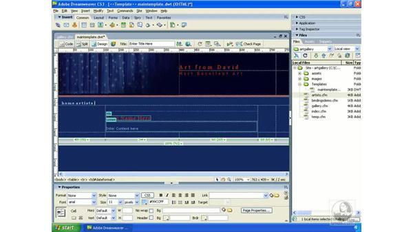 Updating the application template: Dreamweaver CS3 Dynamic Development