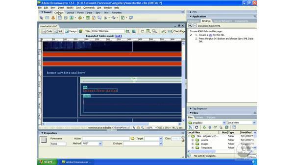 Building HTML forms: Dreamweaver CS3 Dynamic Development
