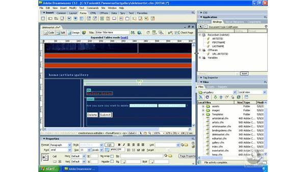 Creating links to delete database records: Dreamweaver CS3 Dynamic Development