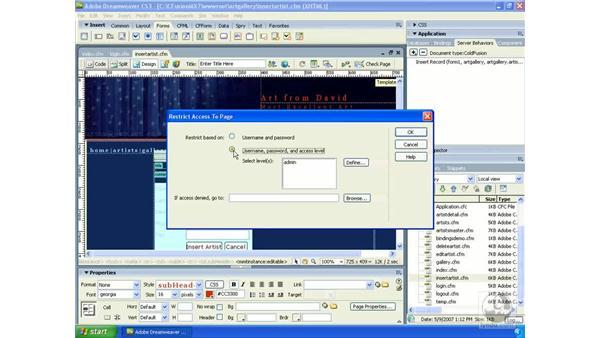 Using access levels: Dreamweaver CS3 Dynamic Development