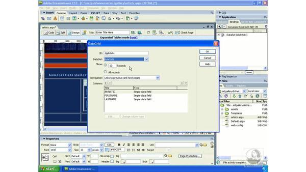 Using the ASP.NET DataGrid control: Dreamweaver CS3 Dynamic Development