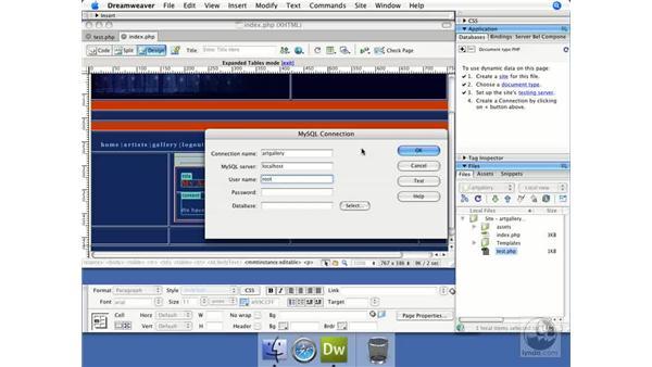 Creating a database connection: Dreamweaver CS3 Dynamic Development