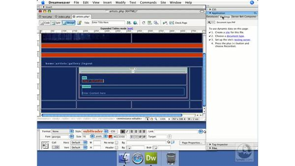 Creating a recordset: Dreamweaver CS3 Dynamic Development