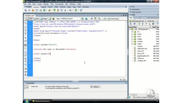 Using CFML variables: ColdFusion 8 Essential Training