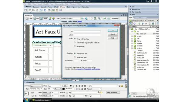 Using text fields: ColdFusion 8 Essential Training