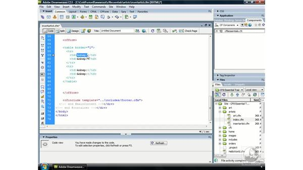 Building a data entry form for inserting data: ColdFusion 8 Essential Training