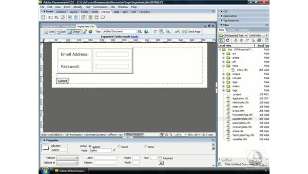 Creating a login form: ColdFusion 8 Essential Training