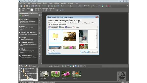 Downloading photos from your camera: Getting Started with Corel Paint Shop Pro Photo X2
