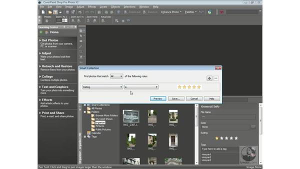 Searching with keywords and ratings: Getting Started with Corel Paint Shop Pro Photo X2