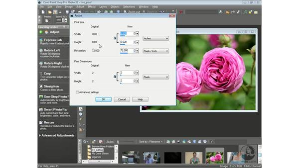 Resizing photos: Getting Started with Corel Paint Shop Pro Photo X2