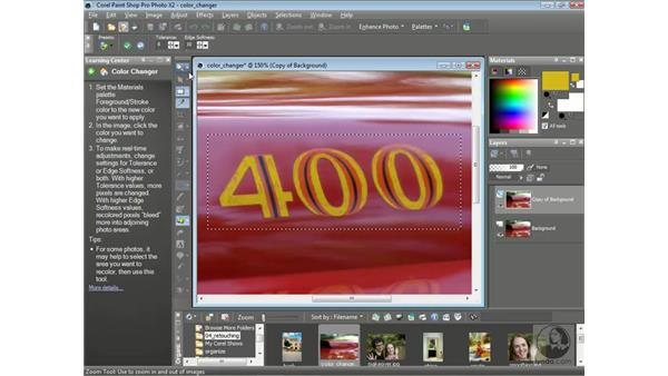 Changing colors with the Color Changer tool: Getting Started with Corel Paint Shop Pro Photo X2