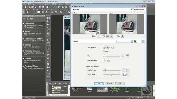Working with depth of field: Getting Started with Corel Paint Shop Pro Photo X2