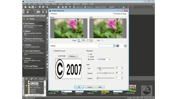 Adding visible watermarks: Getting Started with Corel Paint Shop Pro Photo X2