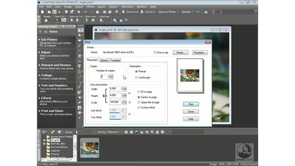 Printing individual photos: Getting Started with Corel Paint Shop Pro Photo X2