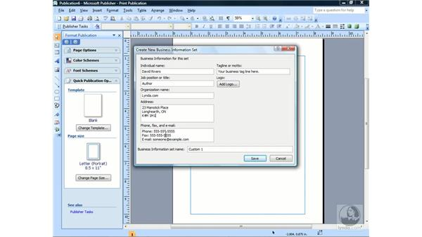 Editing business information: Publisher 2007 Essential Training