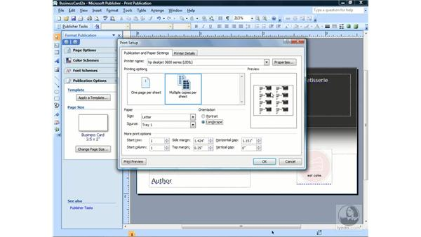 Adjusting print setup options: Publisher 2007 Essential Training
