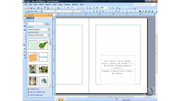 Inserting clip art: Publisher 2007 Essential Training