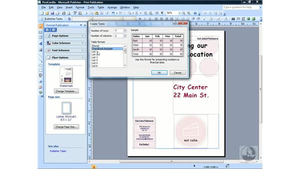 Inserting tables and choosing a preset format: Publisher 2007 Essential Training