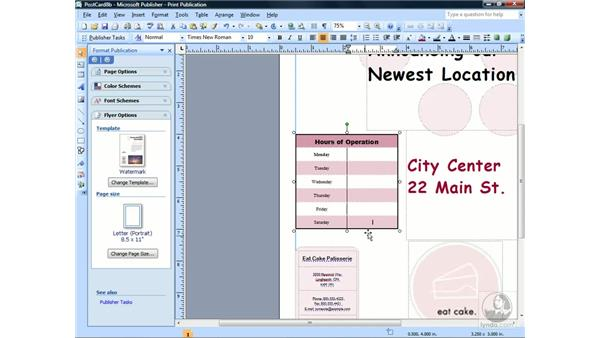 Inserting text into tables: Publisher 2007 Essential Training