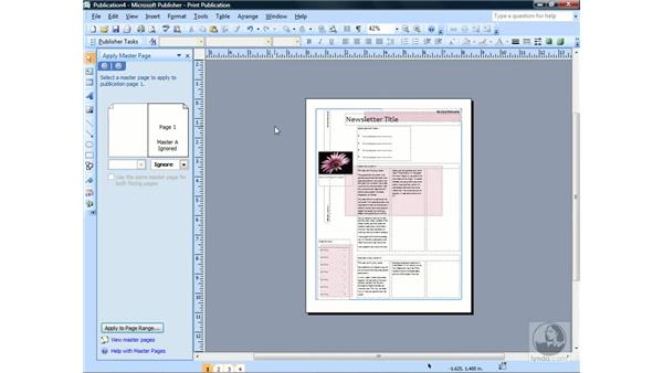Creating and applying master pages: Publisher 2007 Essential Training
