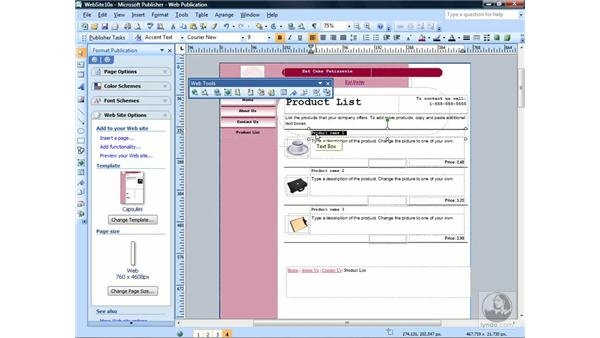 Inserting hyperlinks: Publisher 2007 Essential Training