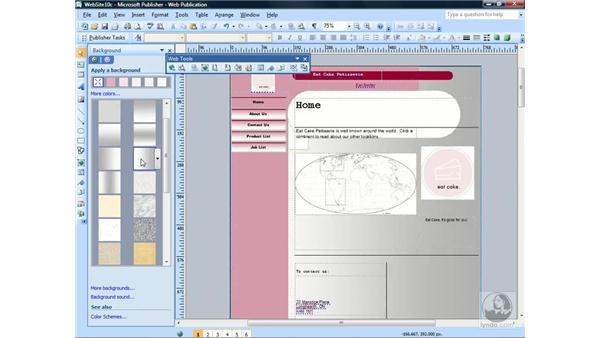 Applying background schemes: Publisher 2007 Essential Training