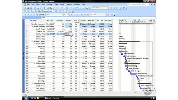 Tracking progress: Project 2007 Essential Training