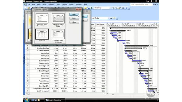 Analyzing the Assignments report: Project 2007 Essential Training