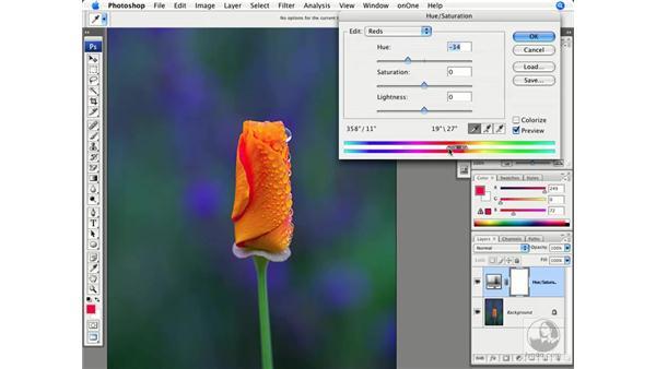 Lab saturation and Hue/Saturation: Photoshop CS3 Creative Photographic Techniques