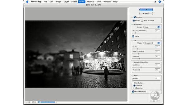 Lens Blur and a radial alpha channel: Photoshop CS3 Creative Photographic Techniques