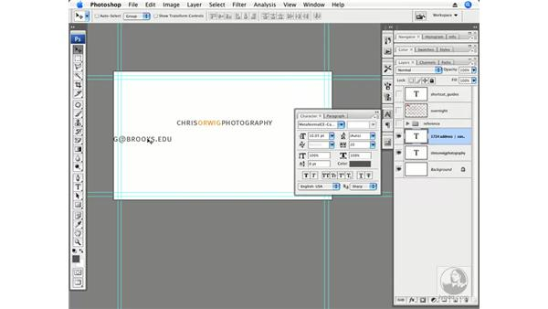 Designing the front of a business card: Photoshop CS3 Creative Photographic Techniques