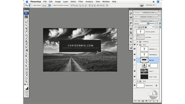 Designing the back of a business card: Photoshop CS3 Creative Photographic Techniques