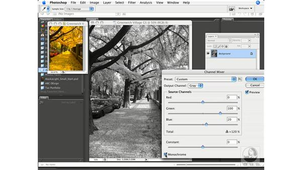 RGB to grayscale using the Channel Mixer: Photoshop CS3 Prepress Essentials