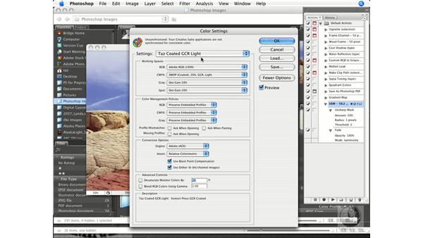 Synchronization of color settings: Photoshop CS3 Prepress Essentials