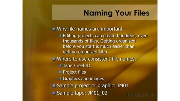 Naming your files: Final Cut Pro 6 Essential Editing