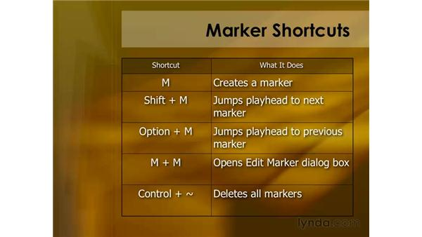 Keyboard shortcuts for markers: Final Cut Pro 6 Essential Editing